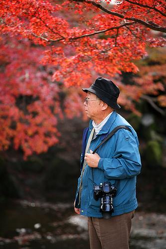Японец в парке