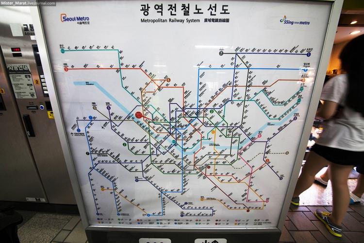 Карта движения поездов. Метро, Сеул