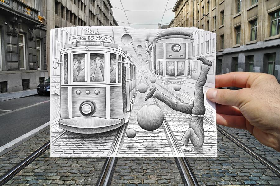 Трамваи. Коллаж Бена Хайне