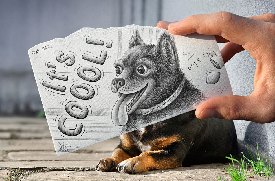 Собака. Коллаж Бена Хайне