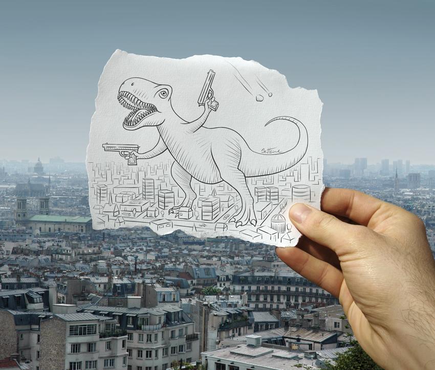 Динозавр в городе. Фото Бена Хайне
