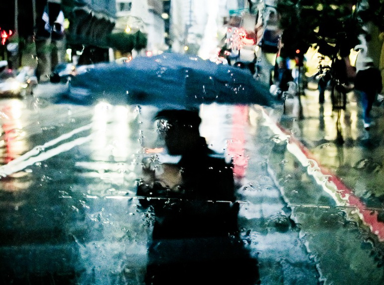 Дождь и горожане под зонтами. Фото: Maximo Gaia