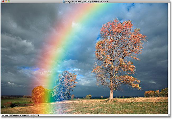 С фильтром Gaussian Blur радуга больше похожа на настоящую
