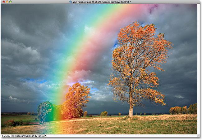 Мы размыли цвета, и радуга снова стала смотреться естественнее