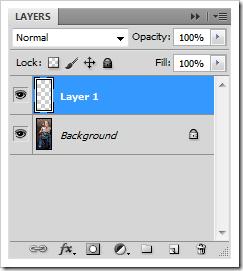 Создаем над слоем Background Layer новый слой в панели слоев.