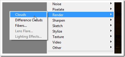 Маска слоя еще активна, открываем Filter > Render > Clouds.