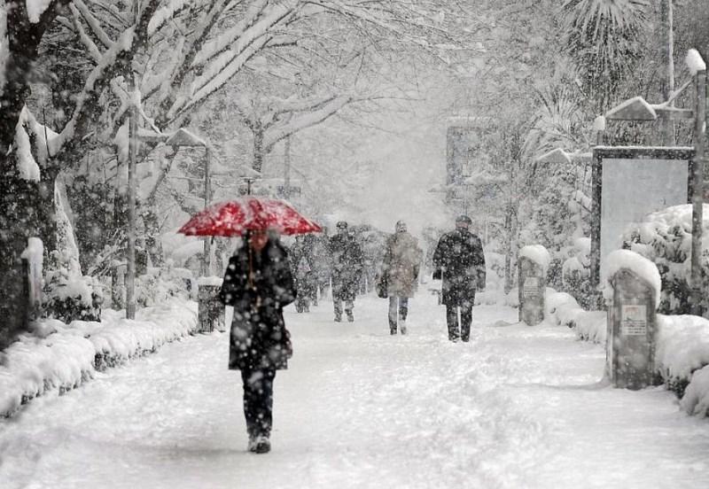 Девушка под зонтом в снегу. Фото: Ahmet Turan Kural