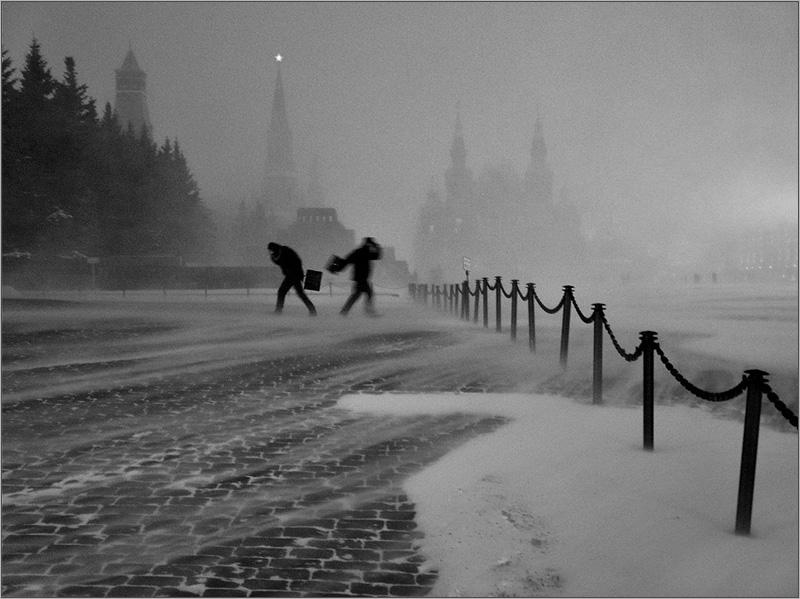 Снежный буран на Красной площади