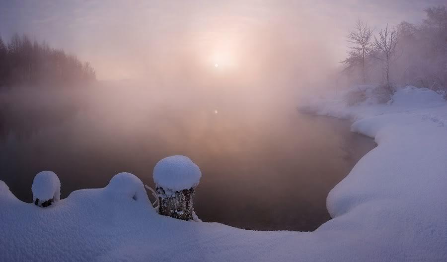 Зимний  туман над озером