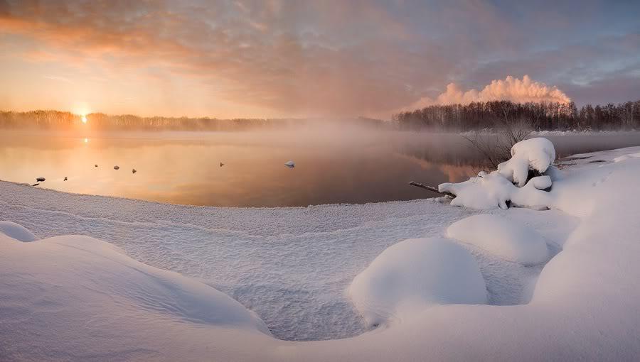 Зимняя Шатура, рассвет над озером