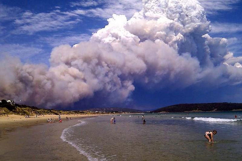 Пожары в Австралии. Катастрофа и безмятежные купающиеся люди. Фото вызвало неоднозначную реакцию в сети.