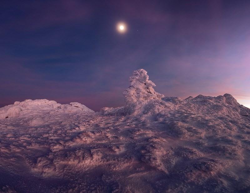 панорама плато с отсветом заката