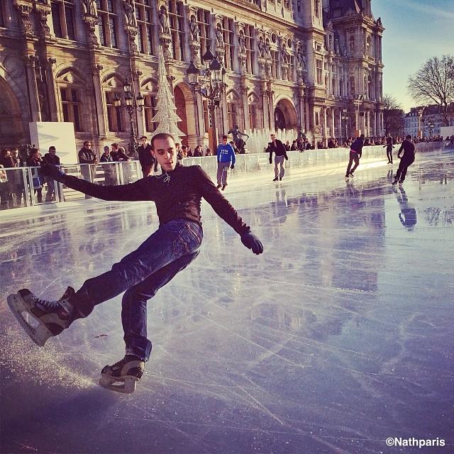 катание на коньках в Париже,  инстаграм фото