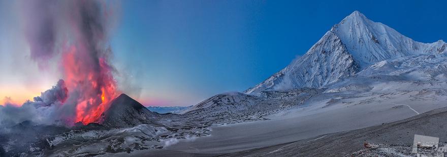«Извержение вулкана Толбачик». Двухрядная панорама, 24 кадра. Дмитрий Архипов, город Козыревск, Камчатский край