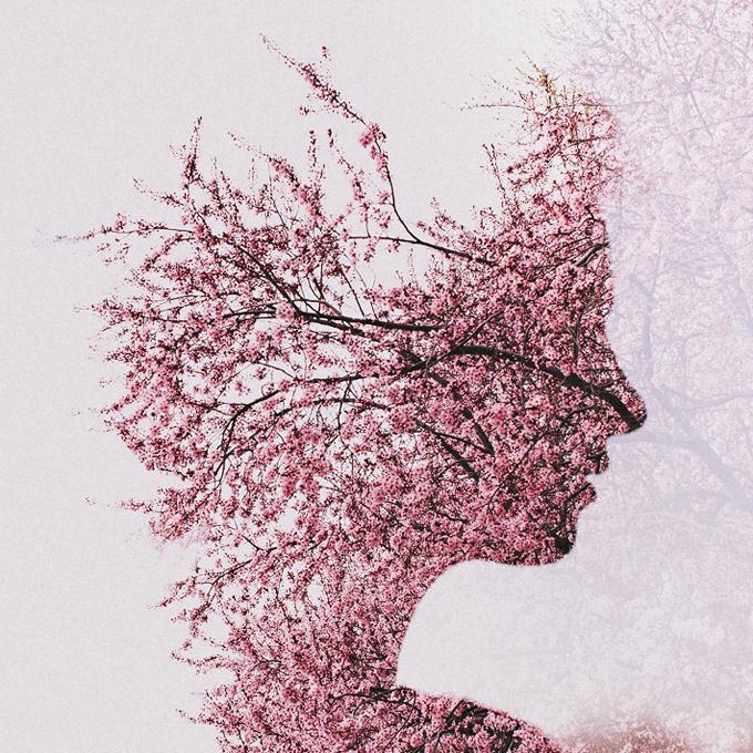Портрет девушки в цветах в жанре мультиэкспозиции. Фото: Сара К. Бирн (Sara K Byrne)
