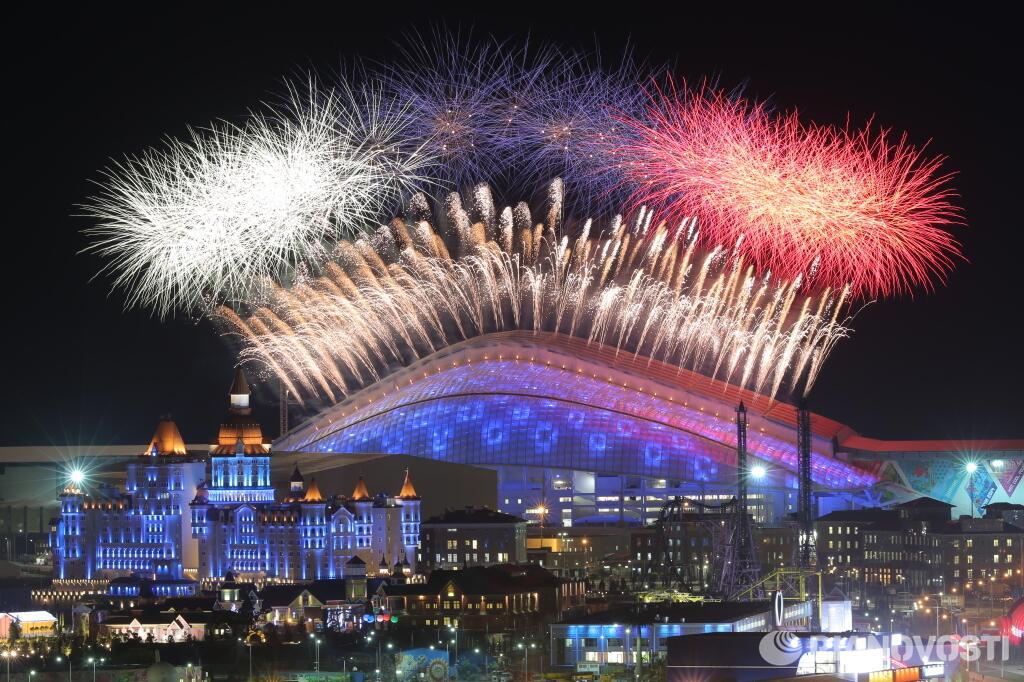 Церемония открытия XXII зимних Олимпийских игр. Салют