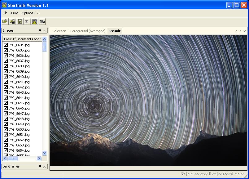 Скриншот программы Startrails Version 1.1 в действии