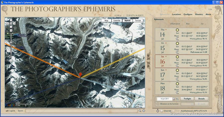 Скриншот программы The Photographer's Ephemeris (TPE)