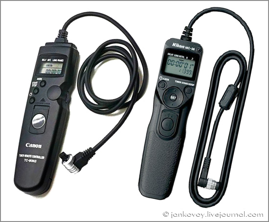 Программируемые спусковые тросики Canon TC-80N3 и Nikon MC-36