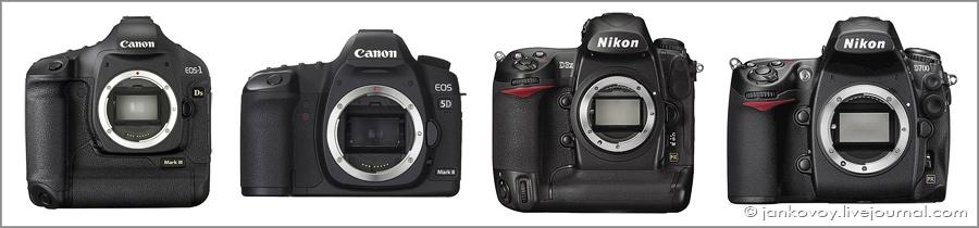 Canon EOS 1Ds Mark III, Canon EOS 5D Mark II, Nikon D3x, Nikon D700