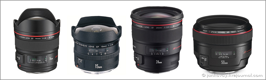Canon EF 14 mm f/2.8 L USM, Canon EF 15 mm f/2.8 Fisheye, Canon EF 24 mm f/1.4 L II USM, Canon EF 50 mm f/1.2 L USM