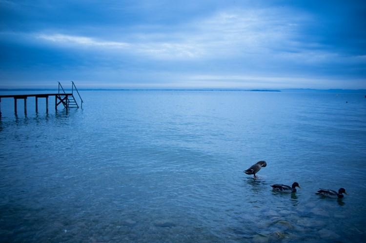 Пасмурный рассвет на озере Гарда