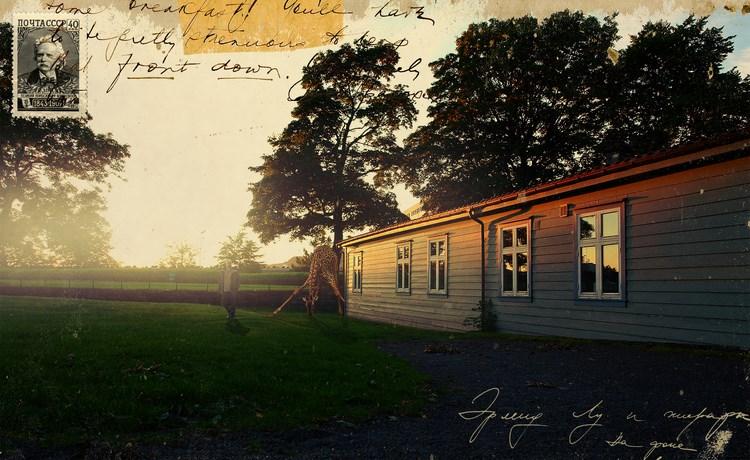 © Petr Lovigin, «Эрленд Лу и его жираф на фоне норвежского дома из норвежского дерева», 2014