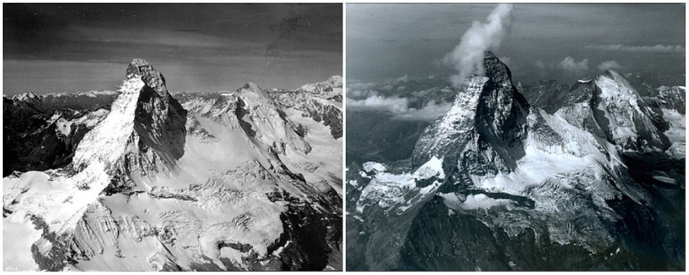 Matterhorn Mountain in the Alps, on the border between Switzerland and Italy. August, 1960 — August, 2005.