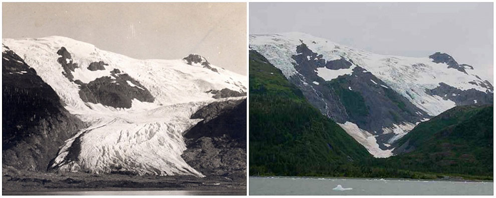 Toboggan Glacier, Alaska. June, 1909 — September, 2000.