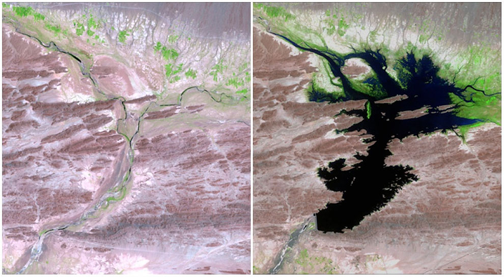 The Dasht River, Pakistan, August, 1999 — June, 2011. The Mirani Dam supplies clean drinking water and power to the surrounding area. The dam also helps support local agriculture.