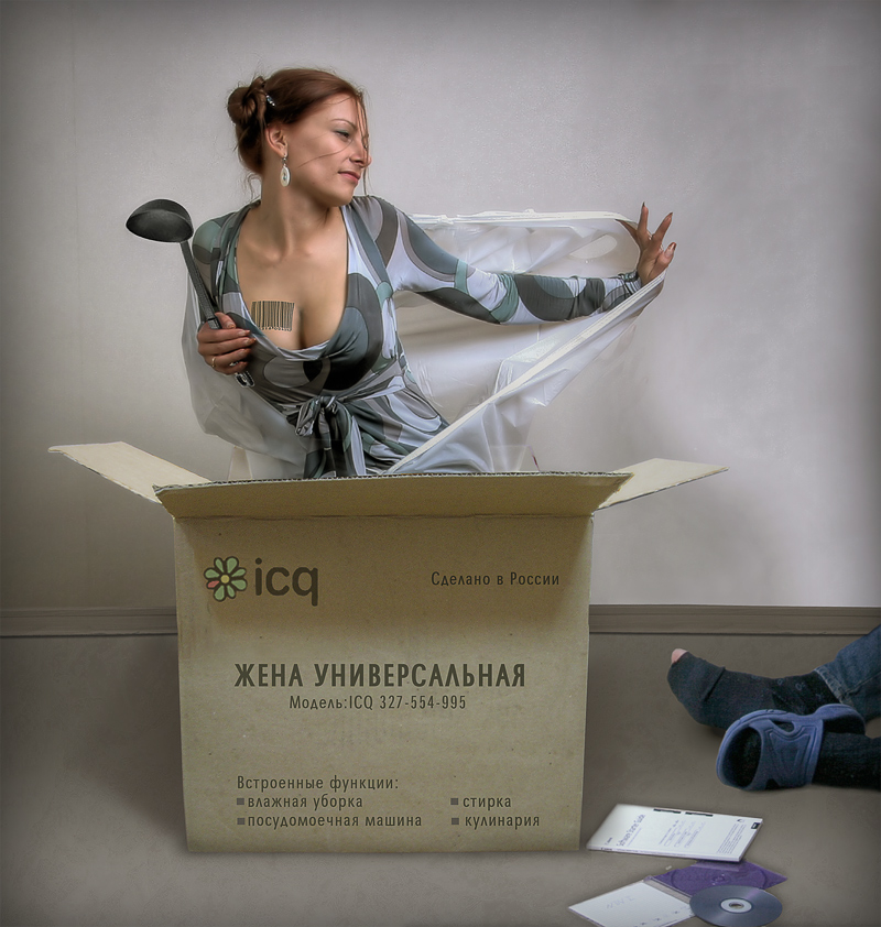 Из коробки вылазит девушка со щтрихкодом на груди и поварёшкой (жена