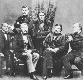 Групповой портрет русских писателей. Сергей Левицкий 1856 г.